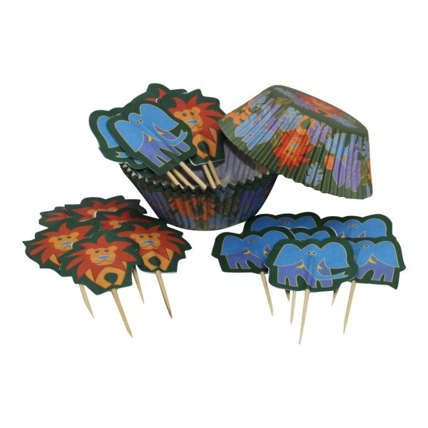 Jungle cupcake cases and toppers