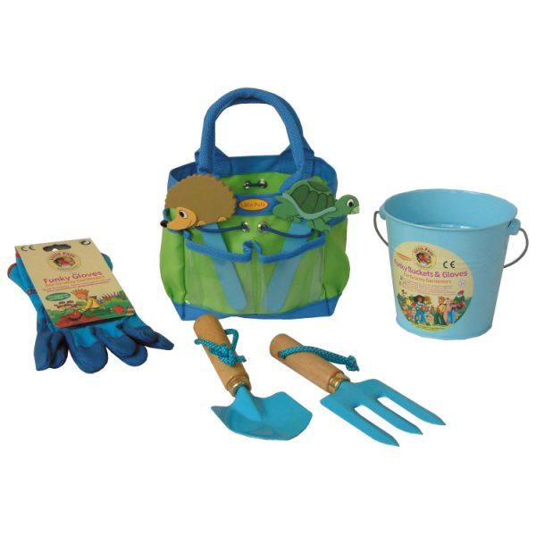 childrens gardening set, blue