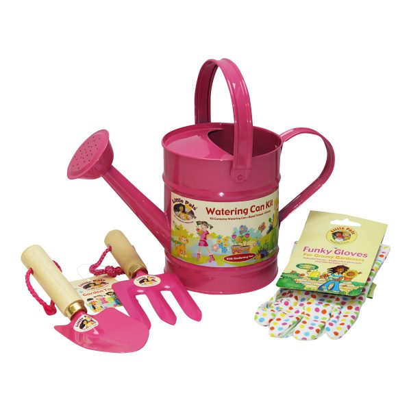 childrens watering can set pink