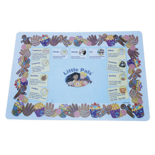 childrens baking activity set blue, baking mat