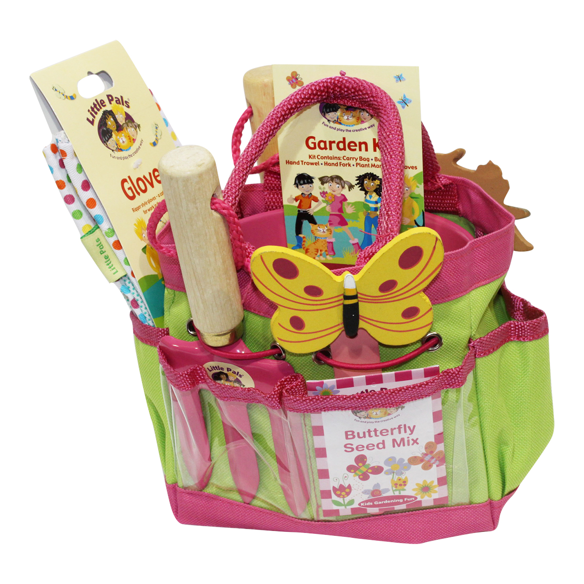 childrens gardening set pink