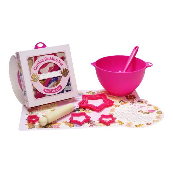 childrens cookie baking set pink