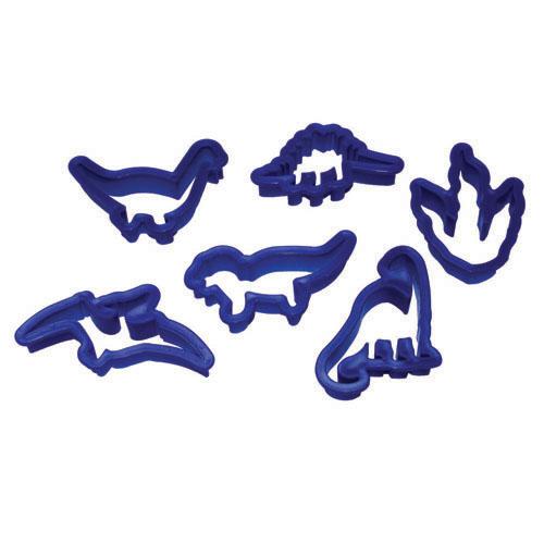 childrens baking activity set blue, dinosaur cutters