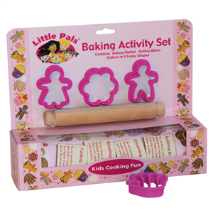 childrens baking activity set pink