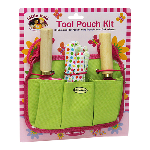 childrens gardening tool pouch kit pink