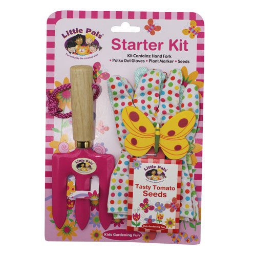 childrens gardening starter set pink
