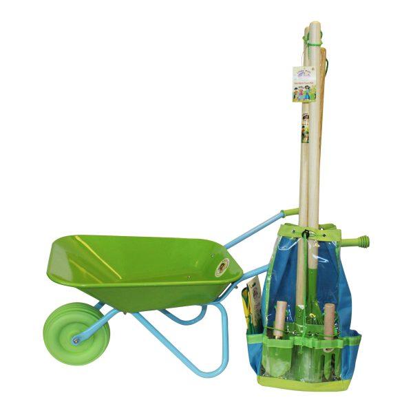 childrens gardening tool set with wheelbarrow