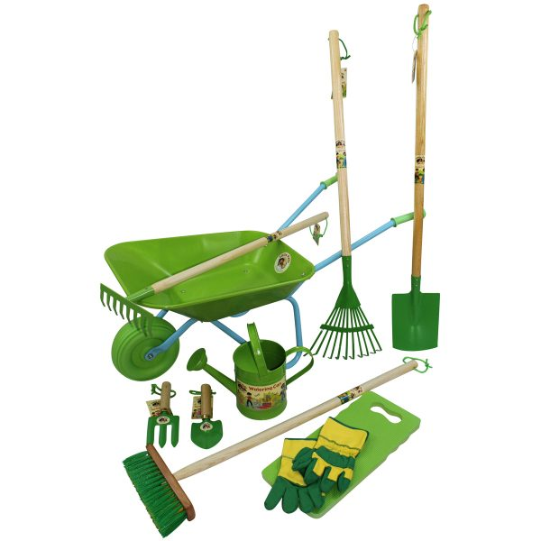 childrens wheelbarrow gardening tool and watering can set