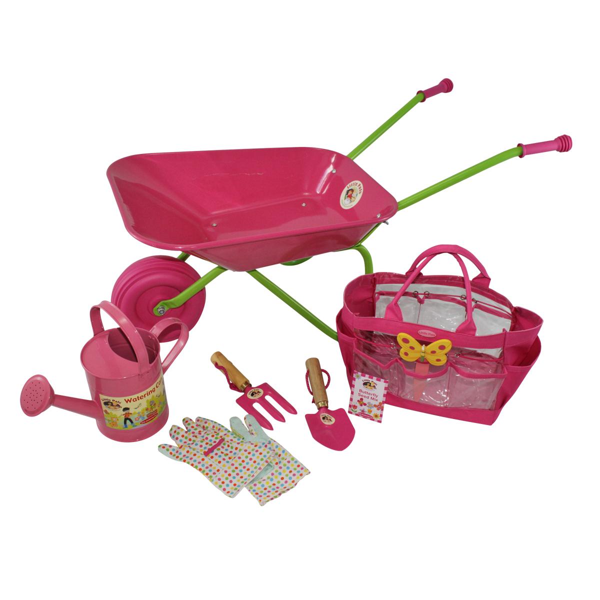 Childrens Wheelbarrow Pink and Tool Kit Bag