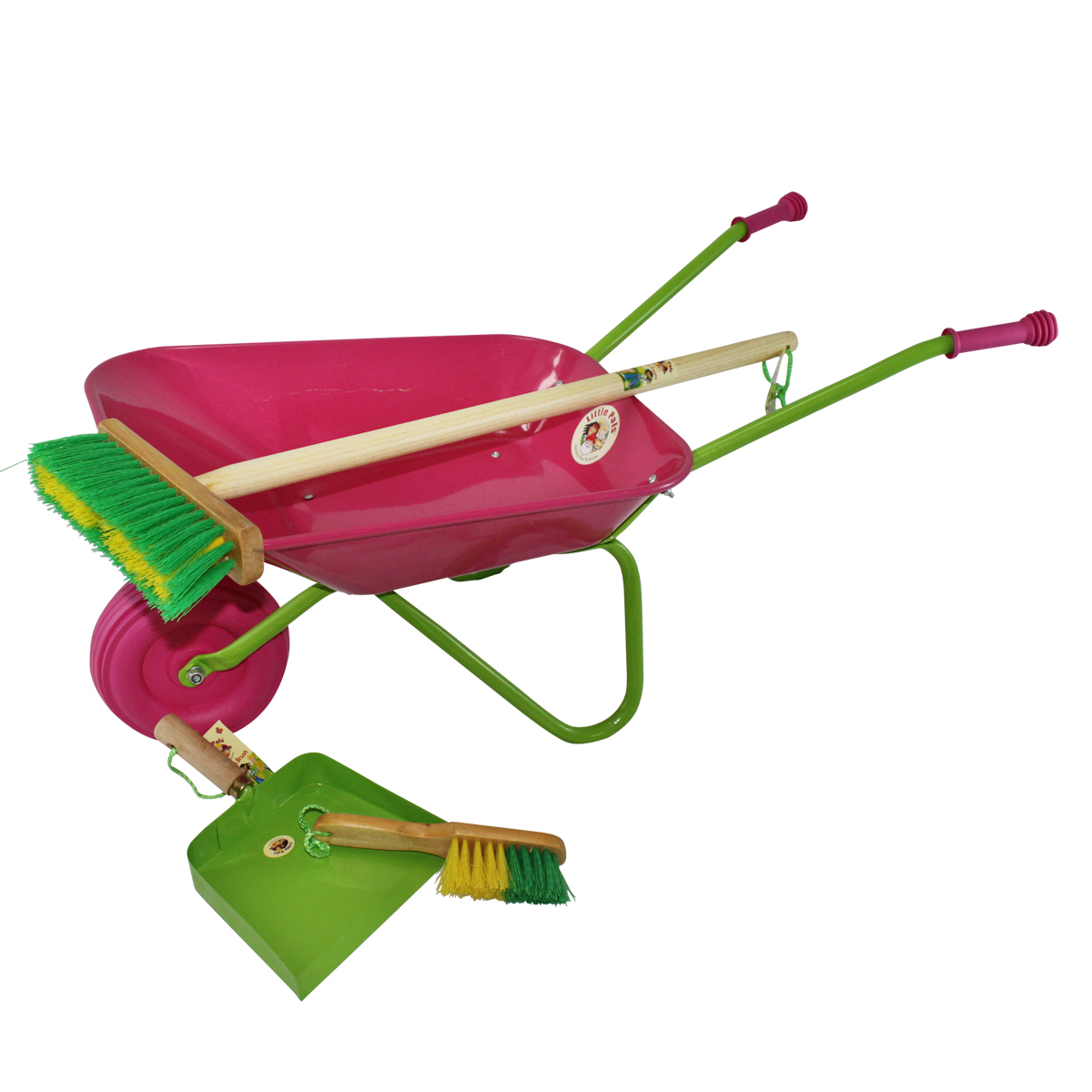 Childrens wheelbarrow and sweep up set, pink