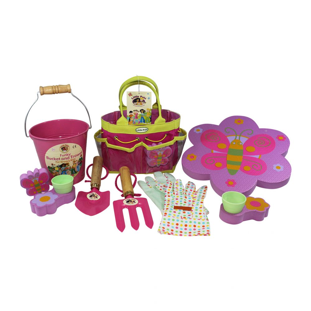childrens gardening tool set pink