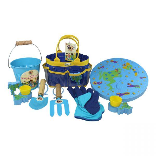 childrens gardening tool set blue