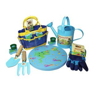 gardening set watering can frog mat