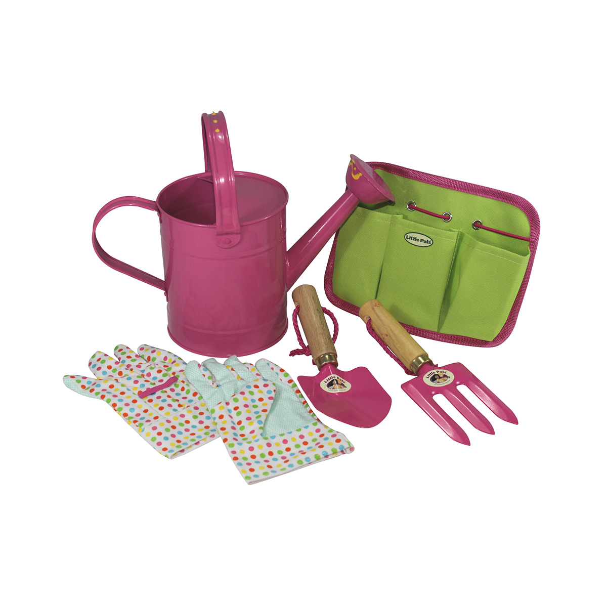 watering can and tool pouch