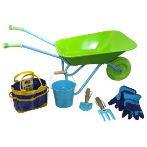 wheelbarrow set blue green
