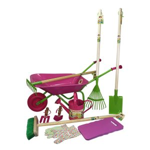 childrens wheelbarrow gardening tools and watering can set